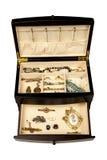 Jewlery jewelry box. A box of new and antique jewlery stock image