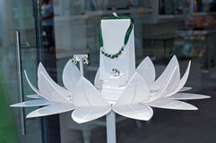 Jewlery stand. Jewelry stand in a flower shape stock photo