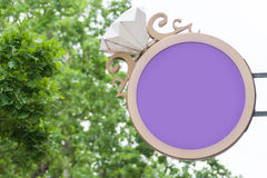 Jewlery store sign. Blank jewlery store sign in shape of a golden ring stock image