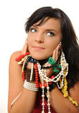 Jewlery. Young woman with jewlery isolated on white stock photos