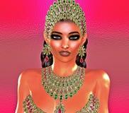 Jewls, шарики, изумруды, диаманты и больше зернокомбайна для того чтобы увеличить эту красивую женщину в нашем уникально, совреме Стоковое фото RF