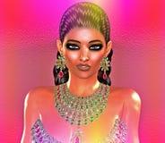 Jewls, шарики, изумруды, диаманты и больше зернокомбайна для того чтобы увеличить эту красивую женщину в нашем уникально, совреме Стоковые Изображения