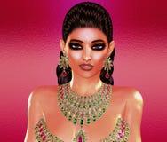 Jewls, шарики, изумруды, диаманты и больше зернокомбайна для того чтобы увеличить эту красивую женщину в нашем уникально, совреме Стоковое Изображение RF