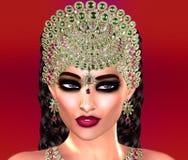 Jewls, шарики, изумруды, диаманты и больше зернокомбайна для того чтобы увеличить эту красивую женщину в нашем уникально, совреме Стоковые Фото