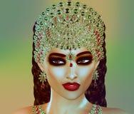Jewls, шарики, изумруды, диаманты и больше зернокомбайна для того чтобы увеличить эту красивую женщину в нашем уникально, совреме иллюстрация штока