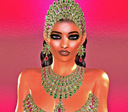 Jewls, beads, emeralds, diamonds and more combine to enhance this beautiful woman in our unique, modern 3d digital art style. Jewels,beads,emeralds, diamonds Royalty Free Stock Photo