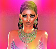 Jewls, beads, emeralds, diamonds and more combine to enhance this beautiful woman in our unique, modern 3d digital art style. Jewels,beads,emeralds, diamonds Stock Images