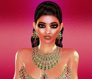 Jewls, beads, emeralds, diamonds and more combine to enhance this beautiful woman in our unique, modern 3d digital art style. Royalty Free Stock Image