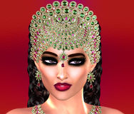 Jewls, beads, emeralds, diamonds and more combine to enhance this beautiful woman in our unique, modern 3d digital art style. Stock Photos