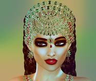 Jewls, beads, emeralds, diamonds and more combine to enhance this beautiful woman in our unique, modern 3d digital art style. Royalty Free Stock Photos