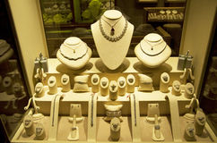 Jewry jeweler store. Beautiful Jewry on the window of a store at a luxury hotel Stock Photo