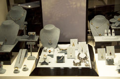Jewry jeweler store. Expensive jewry were displayed at a store window in a mall Stock Photos