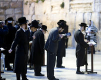 Jews being prayed at the Western Wall. In Jerusalem, Israel Royalty Free Stock Photos