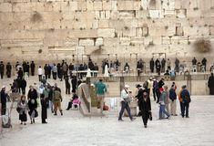 Jews being prayed at the Western Wall in Jerusalem Royalty Free Stock Photo