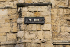 Jews House in Lincoln UK. The plaque on the exterior of the historic Jews House in the city of Lincoln, UK Royalty Free Stock Photo