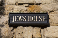 Jews House in Lincoln UK. The plaque on the exterior of the historic Jews House in the city of Lincoln, UK Stock Photography