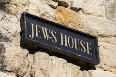 Jews House in Lincoln UK. The plaque on the exterior of the historic Jews House in the city of Lincoln, UK Stock Image