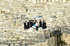 Jews pray at the graves of the ancestors on the mount of olives Stock Photo
