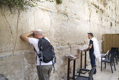 Jews praying in front of the Wailing Wall in Israel Royalty Free Stock Image