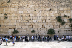Jews praying in front of the Wailing Wall in Israel Royalty Free Stock Photos
