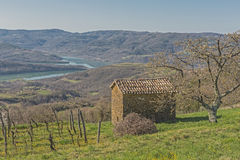 Jez Butonica in Istria. The Jez Butonica is an idyllic artificial lake in central istria stock photography
