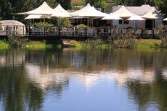 jeziora drewniany tarasowy Zdjęcia Stock