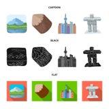 Jeziora, góry wierza SI-EN i inni symbole Kanada, Kanada ustalone inkasowe ikony w kreskówce, czerń, mieszkanie styl Zdjęcie Stock