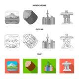 Jeziora, góry wierza SI-EN i inni symbole Kanada, Kanada ustalone inkasowe ikony w mieszkaniu, kontur, monochrom Fotografia Royalty Free