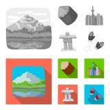 Jeziora, góry wierza SI-EN i inni symbole Kanada, Kanada ustalone inkasowe ikony w monochromu, mieszkanie styl Zdjęcie Royalty Free