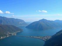 jeziora Lugano miasta. Zdjęcie Stock