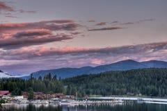 Jeziora Pend Oreille Zmierzch, Wschodnia Nadzieja, Idaho obrazy stock