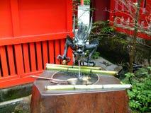 Jeziorna Ashi smoka fontanna, Japonia fotografia royalty free