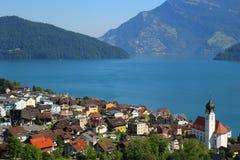 Jeziorna Como wioska Zdjęcie Stock