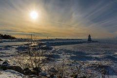 Jeziorna Huron latarnia morska w zimie Obraz Royalty Free