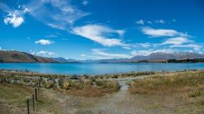 Jeziorna Tekapo panorama w Nowa Zelandia Zdjęcie Royalty Free