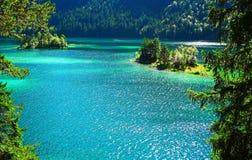 Jeziorne eibsee wyspy Obrazy Royalty Free