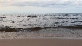 Jeziornego brzeg ponury chmurny dzień Fala rolka na piaskowatym brzeg zdjęcie wideo