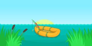 Jeziornego połowu horyzontalny sztandar, kreskówka styl ilustracja wektor