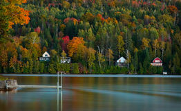 Jeziorni domy wykładają Vermont staw w szczytowej jesieni Zdjęcie Stock