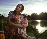 jeziorni odbić kobiety potomstwa Fotografia Stock