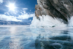 Jeziorny Baikal w zimie fotografia royalty free