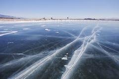 Jeziorny Baikal, zima Przylądka Uyuga krajobraz fotografia stock