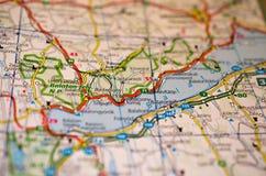 Jeziorny Balaton na mapie Zdjęcia Stock