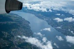Jeziorny Balaton widzieć od samolotu obrazy royalty free