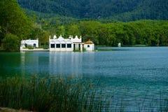 Jeziorny Banyoles jest wielkim jeziorem w Catalonia Fotografia Stock