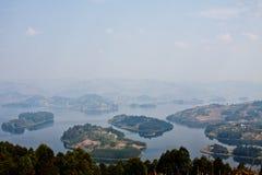 Jeziorny Bunyonyi Od Above Zdjęcie Stock