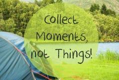 Jeziorny camping, wycena Zbiera momenty, Nie rzeczy Fotografia Stock