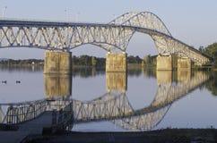 Jeziorny Champlain most który rozciąga się Jeziornego Champlain od Nowy Jork Vermont Obraz Stock