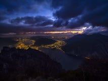 Jeziorny Como krajobraz nocą obraz stock