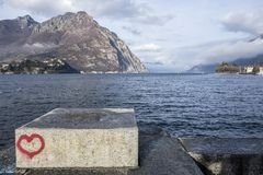 Jeziorny Como widok od miasta Lecco, Włochy Fotografia Royalty Free